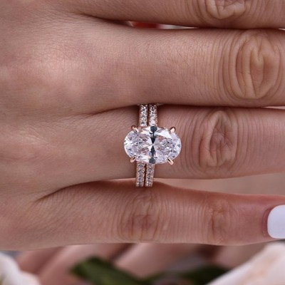 Oval Cut White Sapphire 925 Sterling Silver 2-Piece Rose Gold Bridal Sets
