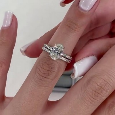 Oval Cut White Sapphire 925 Sterling Silver Bridal Sets