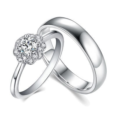 Halo Round Cut White Sapphire 925 Sterling Silver Couple Rings