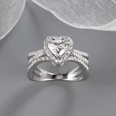 Heart Cut White Sapphire 925 Sterling Silver Halo Engagement Rings