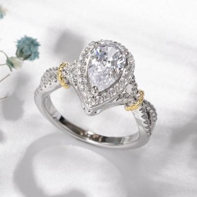 Pear Cut White Sapphire Two-Tone Gold 925 Sterling Silver Halo Engagement Rings