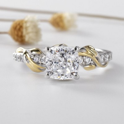 Vine Cushion Cut White Sapphire 925 Sterling Silver Gold Two-Tone Engagement Rings