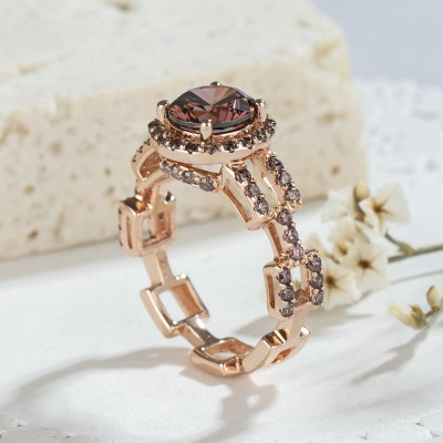 Round Cut Chocolate 925 Sterling Silver Rose Gold Halo Engagement Rings