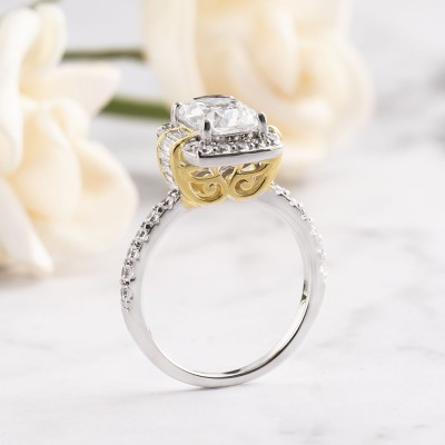 Cushion Cut White Sapphire Two-Tone Gold 925 Sterling Silver Halo Engagement Rings
