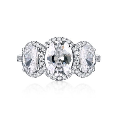 Oval Cut White Sapphire 925 Sterling Silver Three-Stone Engagement Rings