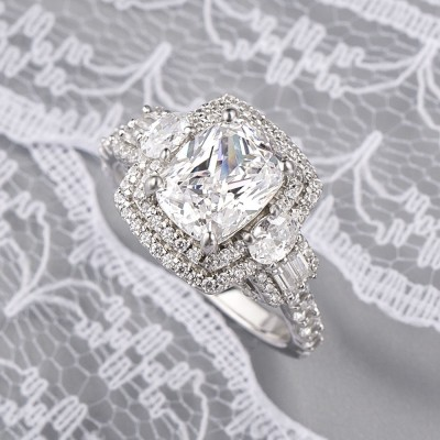 Cushion Cut White Sapphire 925 Sterling Silver Double Halo 3-Stone Engagement Rings