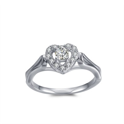 Round Cut 1/10CT Gemstone Heart Framed Sterling Silver Engagement Ring