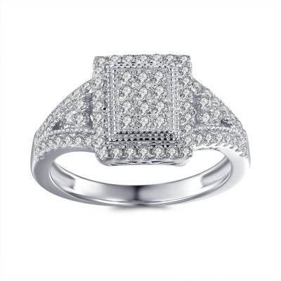 1/3CT Princess Cut Gemstone Sterling Silver Engagement Ring