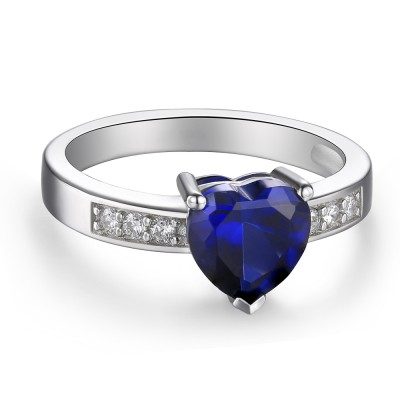 Heart Cut Sapphire 925 Sterling Silver Promise Rings For Her