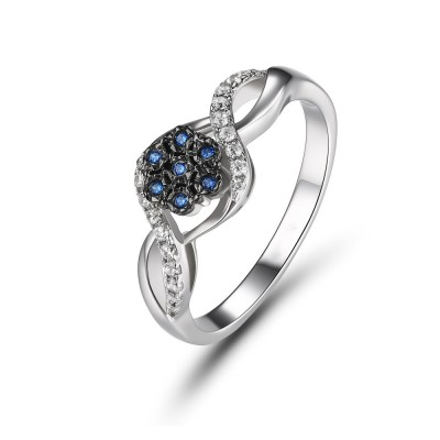 Round Cut Blue Sapphire Sterling Silver Women's Ring