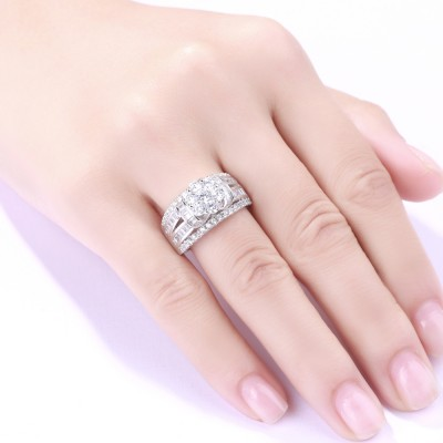 Round Cut Flower White Sapphire 925 Sterling Silver Women's Engagement Ring