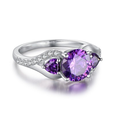 Round Cut Amethyst 925 Sterling Silver Promise Rings For Her