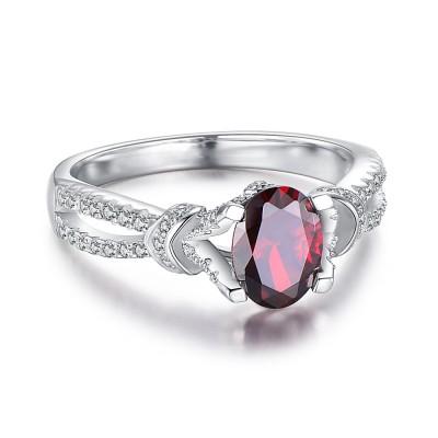 Oval Cut Garnet 925 Sterling Silver Birthstone Rings