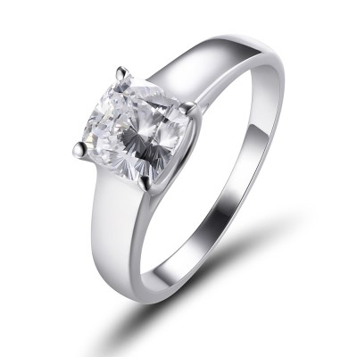 Cushion Cut White Sapphire 925 Sterling Silver Engagement Ring