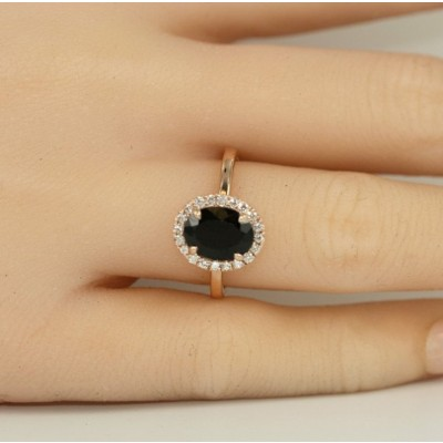 Rose Gold Oval Cut Black Sapphire 925 Sterling Silver Engagement Ring