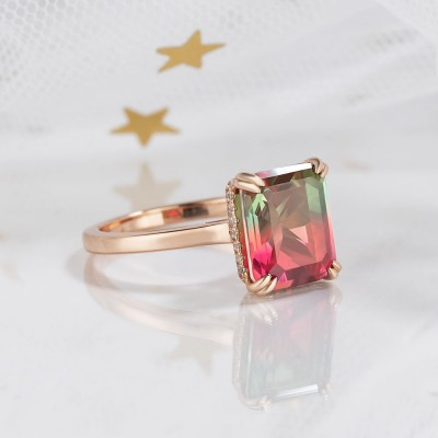 7.4CT Radiant Cut 925 Sterling Silver Rose Gold Watermelon Engagement Rings