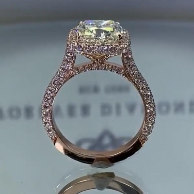 Asscher Cut White Sapphire 925 Sterling Silver Rose Gold Engagement Rings