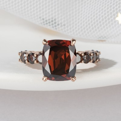 9.5CT Radiant Cut Chocolate 925 Sterling Silver Rose Gold Engagement Rings