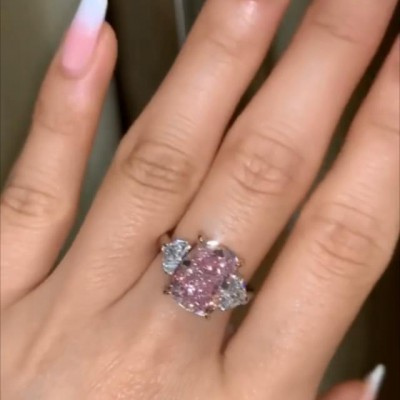 Radiant Cut Pink Sapphire 925 Sterling Silver 3-Stone Engagement Rings