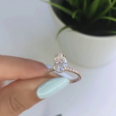 Pear Cut White Sapphire 925 Sterling Silver Classic Rose Gold Engagement Rings
