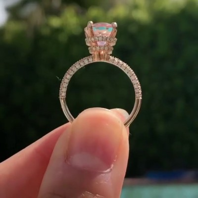 Oval Cut Pink Sapphire 925 Sterling Silver Classic Rose Gold Engagement Rings