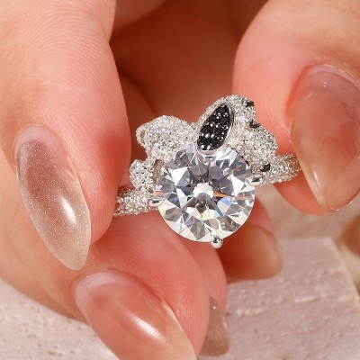 Round Cut White Sapphire 925 Sterling Silver Snoopy Engagement Ring