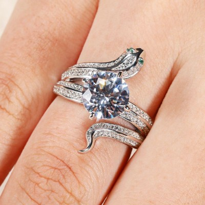 Round Cut White Sapphire 925 Sterling Silver Snake Engagement Ring
