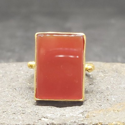 Solitaire Rectangle Cut 925 Sterling Silver Gold Carnelian Ring