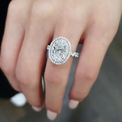 Oval Cut White Sapphire 925 Sterling Silver Halo Engagement Rings