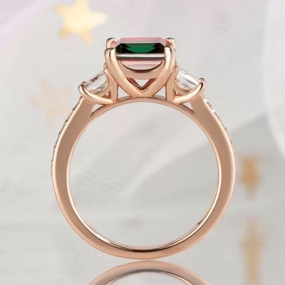 3.1CT Princess Cut 925 Sterling Silver Rose Gold 3-Stone Watermelon Engagement Rings