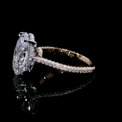 Oval Cut White Sapphire Rose Gold 925 Sterling Silver Engagement Rings