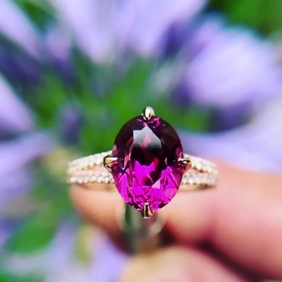 Oval Cut Amethyst 925 Sterling Silver Rose Gold Engagement Rings