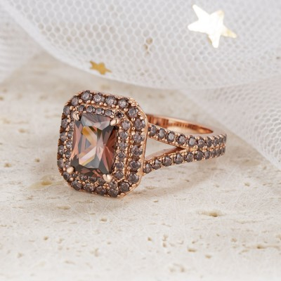 3.1CT Radiant Cut Chocolate 925 Sterling Silver Rose Gold Double Halo Engagement Rings