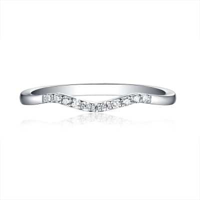 Round Cut White Sapphire 925 Sterling Silver Wedding Bands