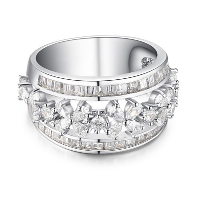 Oval Cut White Sapphire 925 Sterling Silver Women's Wedding Bands