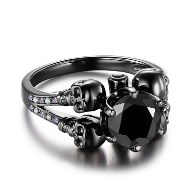 Round Cut Black Gemstone Sterling Silver Skull Ring