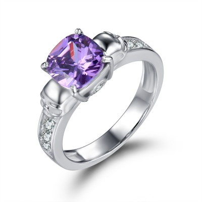 Emerald Cut Amethyst Gemstone 925 Sterling Silver Skull Ring
