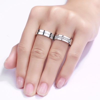 Titanium Steel Round Cut Gemstone Promise Ring for Couples