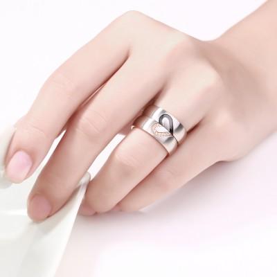 Elegant Heart Design Titanium Steel Gemstone Promise Ring for Couples