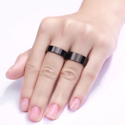 Black Titanium Steel Promise Ring for Couples