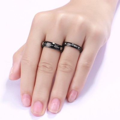 Cute Forever Love Black Titanium Steel Promise Ring for Couples