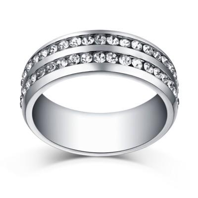 Round Cut White Sapphire Silver Titanium Steel Men's Ring