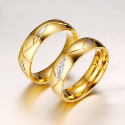 Round Cut White Sapphire Gold and Silver Titanium Steel Promise Rings for Couples