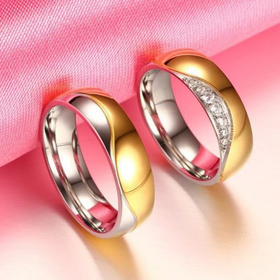 Round Cut White Sapphire Gold & Silver Titanium Steel Promise Rings for Couples