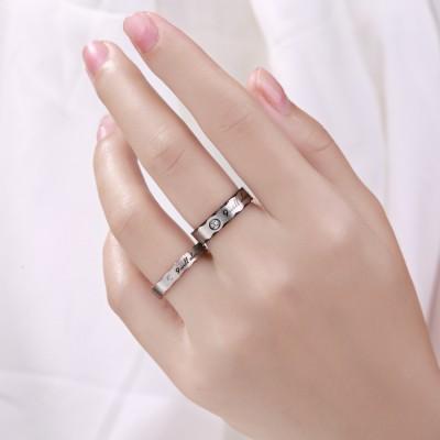 Black & Rose Gold Titanium Steel Promise Rings for Couples