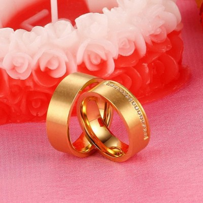 Round Cut White Sapphire Gold Titanium Steel Promise Rings for Couples