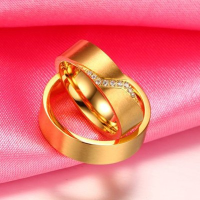 Titanium Steel Gold White Sapphire Promise Rings for Couples