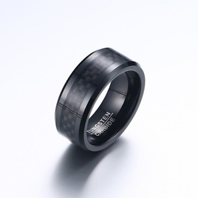 Tungsten Black Pattern Men's Ring