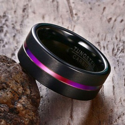 Tungsten Colorful Black Men's Ring