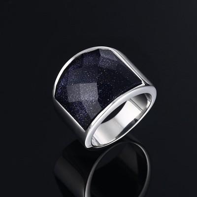 Titanium Dark Navy Galaxy Silver Men's Ring